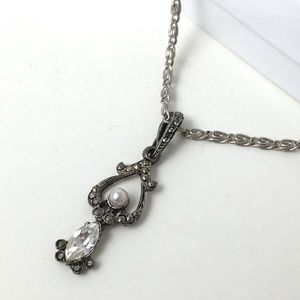 Vintage Antiqued Silver Paper Clip Chain Necklace